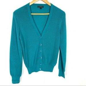 J. Crew XS Cardigan Green Ribbed
